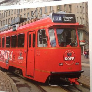 The Koff bus in Helsinki - a sightseeing tram and pub.