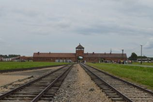 The iconic entrance to Birkenau concentration camp.