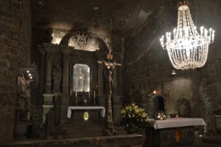 Salt mines in Krakow, this entire chapel has been carved out of the salt, even the chandeliers are made of salt.