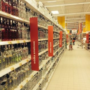 An entire aisle just for vodka, this supermarket was huge!