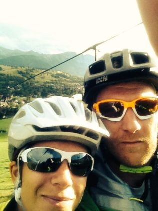 Looking happy to go mountain-biking, all that would change...
