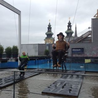 Playing on an art installation in Linz.