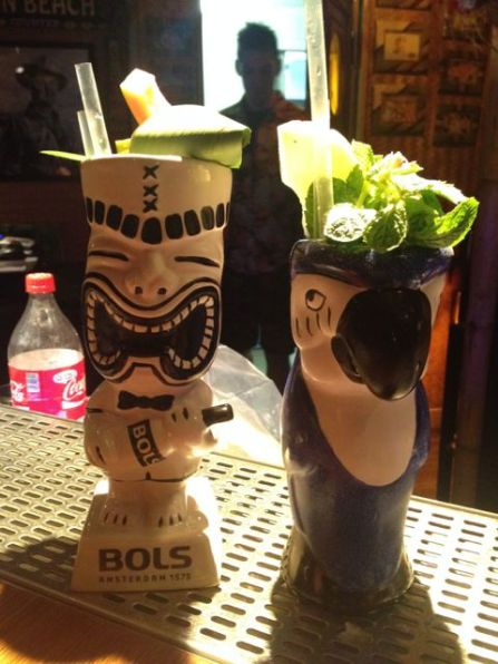 Custom cocktails in the Tiki bar