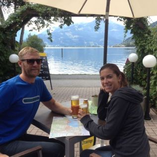 Celebrating our arrival in Zell am Zee.