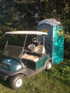 Golf buggies are fun - until your husband uses one to lock you in a portaloo....