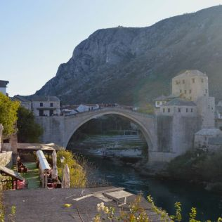 Mostar Bridge, destroyed during the war but rebuilt to the original design.