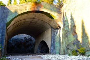 Hidden bunkers which stored military aircraft.