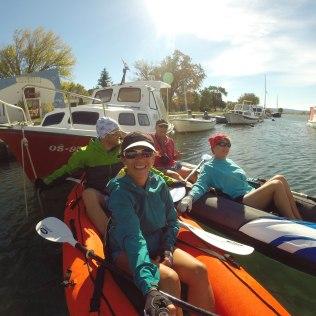 Kayaking with John and Jan (having a break from paddling upstream)