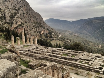 The ancient ruins at Delphi.