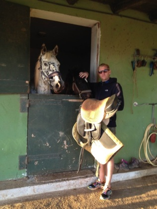 Craig being stablehand at the farm.