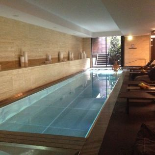 It even had a swanky stainless steel pool and hot tub.
