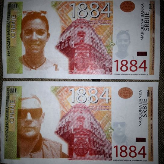 Our faces on a Serbian bank note.