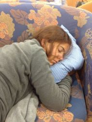 Getting some sleep on the overnight ferry to Crete.