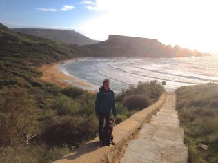 Walking the dog on Golden Bay.